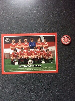 Manchester United  1977 FA Cup Final Commemorative Postcard and Badge