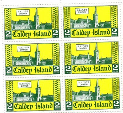 6 Stamps In A Block From  The Welsh Island Caldey 1970???.