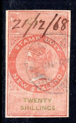 New Zealand Revenue/ Duty - DIE I 20 Shillings Imperf - USED
