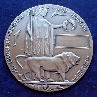 Ww1 Full Size Dead Mans Penny / Death Plaque