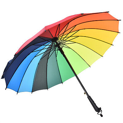 16 Rib Rainbow Golf Umbrella Ultra Durable Deluxe Strong Windproof Large Canopy5