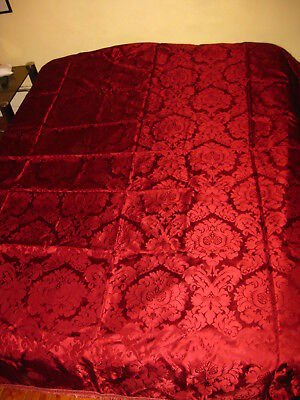 ANTIQUE QUILT COVERLET BEDSPREAD DAMASCO SILK 1940s