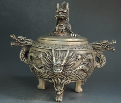 Old Chinese Silver Carving Dragon Beast Head incense burner Censer incensory