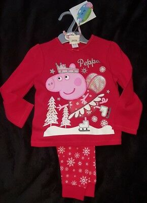 Peppa pig red christmas pajamas age 18-24 months