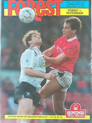 Nottingham Forest v Tottenham Hotspur League Cup Semi Final 9th February 1991