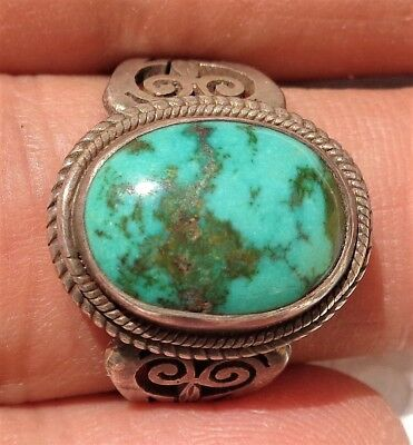 Old Ethnic silver ring with turquoise