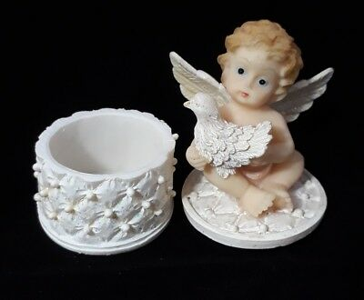 Vintage Collectible Decorative Angel Cherub Figurine Holding a Pigeon On The Lid
