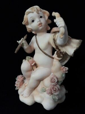 Vintage Collectible Decorative Fetching Angel Cherub Figurine Holding Bow &Arrow