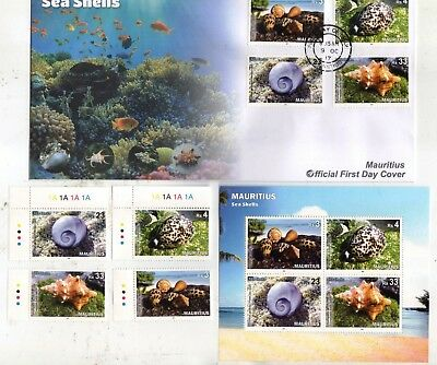 2017 Mauritius Sea Shells Set of 4 Mint Stamps + Mini-Sheet + First Day Cover