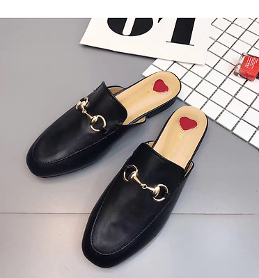 NEW Women Princetown Horsebit Slippers slides Flats Mules Loafers black