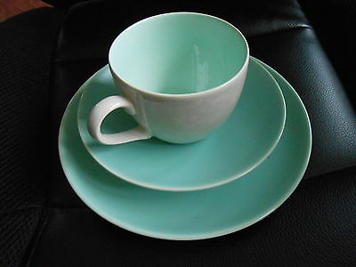 Poole Pottery C104 Contour-Trio Tea Plate/cup & Saucer/ice Green & Mottled Grey