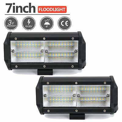 2x 7inch 252w LED Work Driving Light Bar CREE Flood OFFROAD 4WD UTE Truck Lamp