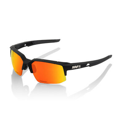 100% Glasses SpeedCoupe, Soft Tact Black/Hiper Red Multilayer Mirror Lens