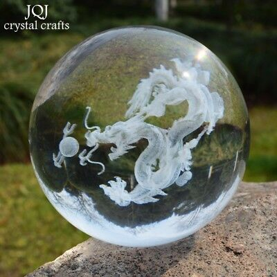 3D Dragon Ball Storm Glass Crystal Decorative Marble Ball Feng Shui Figurine Z