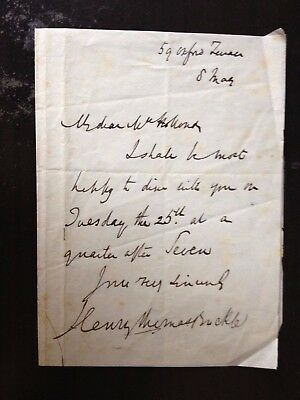 Henry Thomas Buckle - Famous British Historian - One Page Signed Letter