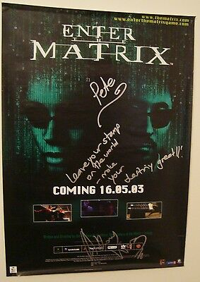 Enter the Matrix 2003 59 x 84cm RARE POSTER signed Anthony Wong nintendo game