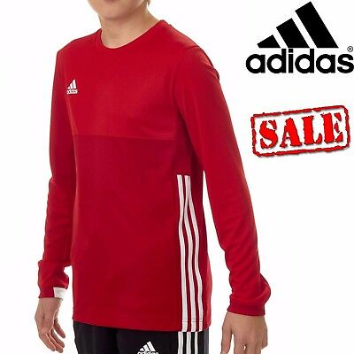 adidas T16 Kids Climacool Long Sleeve Junior Tee Tops Red White Boys Size 15-16
