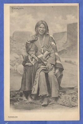 Navajos Woman With Small Girl M Rieder Publisher #7272 Native Americana Postcard