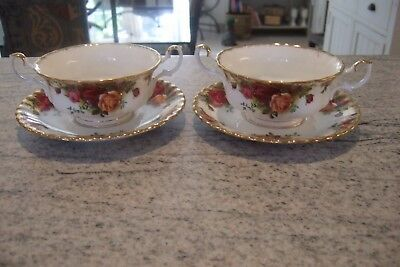 Royal Albert Old Country Roses Soup Coupes & Saucers