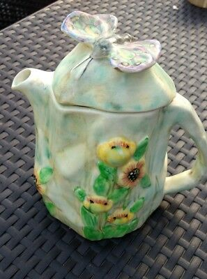 H J Wood, Butterfly Ware Tea Pot, Stunning Very Rare