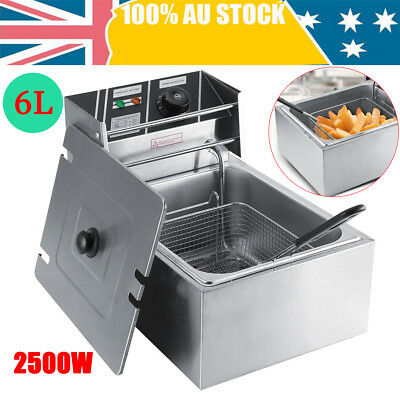 Commercial Electric Deep Fryer Frying Basket Chip Cooker Fry Scoop 6L 2500W