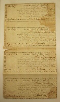 1807, Farmers Bank of Maryland four uncut stock certificates - interesting item!