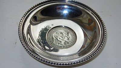 Antique Solid Silver Bowl Set Danish 2 Korona Coin