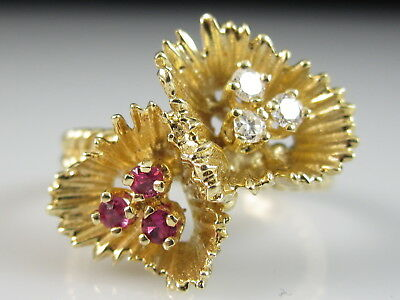 14K Ruby Diamond Ring Flower Yellow Gold Fine Jewelry Estate Cluster Size