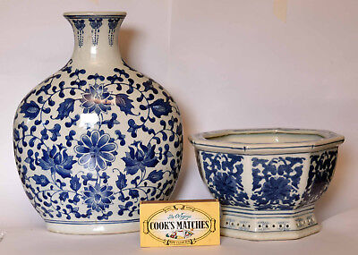 Two Pieces Of Antique Chinese Porcelain Large Blue And White Vase And Planter