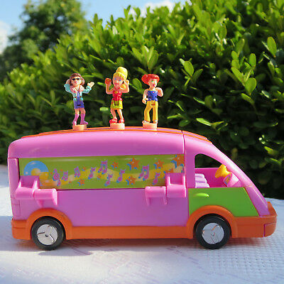 Mini Polly Pocket Musician's Tour Bus Reisebus Bühne mit 3 Mikrofonen 3 Figuren