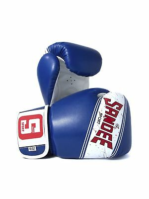 Sandee Sport Velcro Blue & White Muay Thai Boxing Gloves