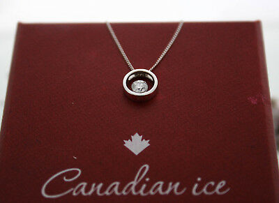 9ct White Gold 0.20ct Certificate Canadian Diamond Pendant Necklace RRP £700