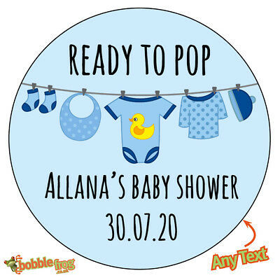 Personalised BABY SHOWER READY TO POP Bunting Stickers Cute Bag Cone 515 BLUE