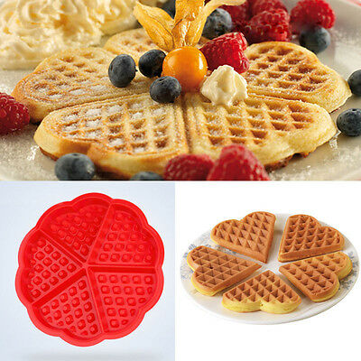 1*5-Cavity Heart-shaped Waffles Mold Bundt Oven Muffins Cake Pan Silicone Mold