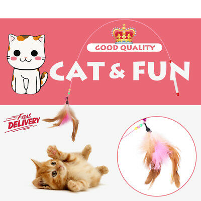 Funny Cat Kitten Pet Bird Feather Teaser Wire Chaser Toy Wand Bell Beads Play
