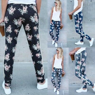 New Hot Women's Pants High Waist Elastic Drawstring Floral Casual Yoga Trousers