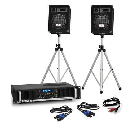 "PRO DJ ""HT10"" PA SET 800 WATT SYSTEM DISCO AMPLIFIER 10"" LOUDSPEAKERS w. STANDS"