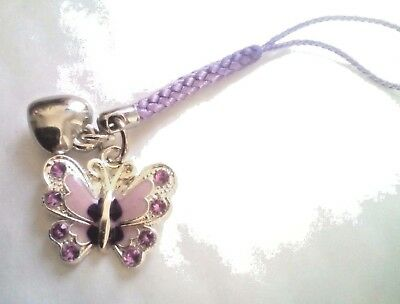 Mobile  phone charm  purple plaited cord & Butterfly & Heart charm *Only £2.75*