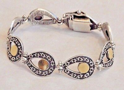 Vintage Mexico 14K Yellow Gold & Sterling Silver Bracelet