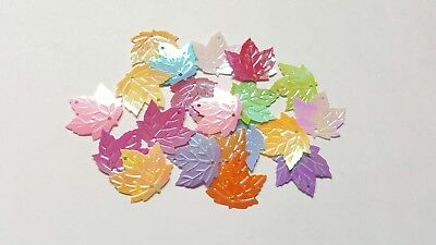 20 x 2-Hole AB Plated Sequins - 22mm - Maple Leaf [Various Colours]