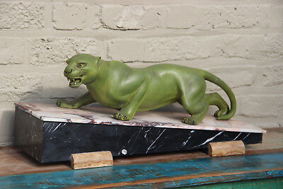 Antique Art deco 30s French Panther Spelter bronze marble  statue attr.guy debe