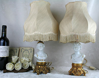 PAIR Italian capodimonte Tyche tosca porcelain buste boy girl lamp marked shade