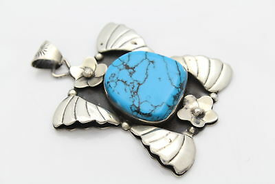 Big Mexican Turquoise & Sterling Silver Flower & Wings Pendant 23g
