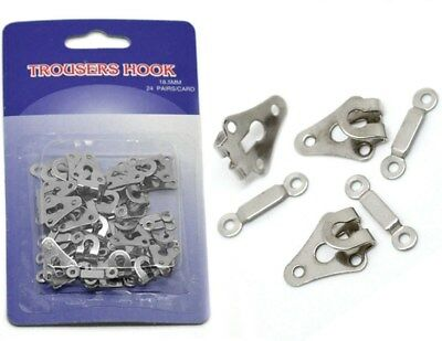 24 Sets: Trousers Hooks 18 mm. FREE POSTAGE