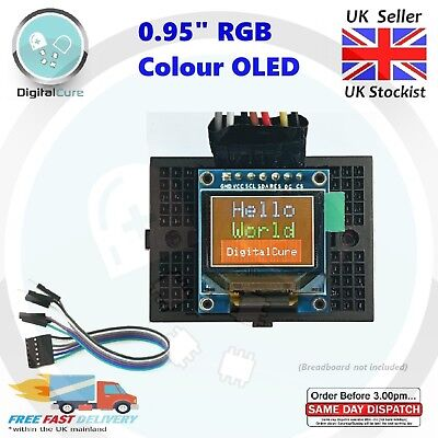 "0.95"" 96x64 RGB 65k Colour SPI OLED LCD Display TESTED- Arduino Raspberry Pi PIC"