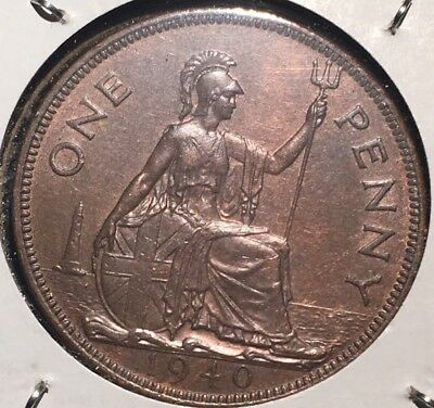 High Grade 1940 Great Britait One Penny KM#845