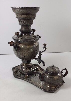 Rare Small Persian Samovar & Teapot in White Metal, beautifully engraved H 20 cm