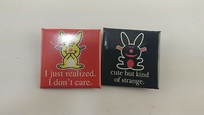 (2) Funny Jim Benton Happy Bunny Square Humor Button Pin Lot Fast Free Shipping