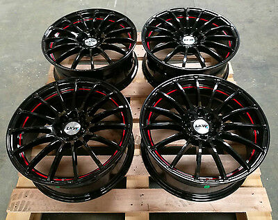 "17"" Gloss Black Red Lip Alloy Wheels 4X100 Fits Mini Vauxhall Suzuki Honda"