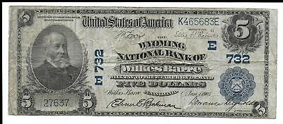 "1905 $5~Large Size National Currency ""wyoming National Bank Of Wilkes-Barre Pa"""